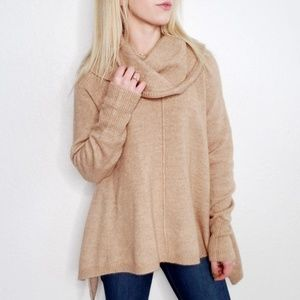 For Thee Cowl Neck Tan Oversized Tunic Sweater 744